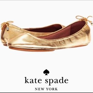 Like-New Kate Spade Gold Leather Flats